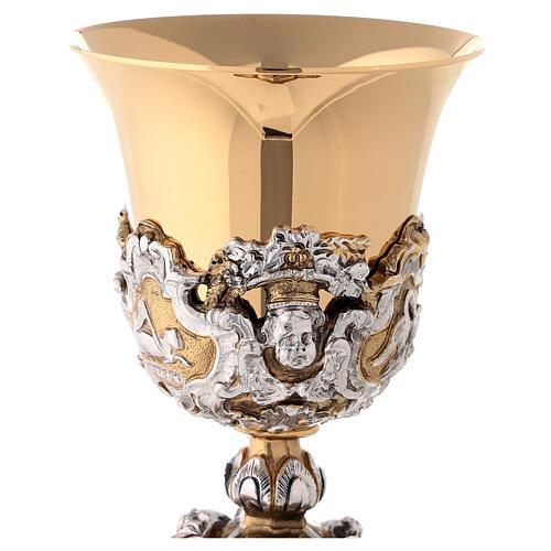 Calice ottone cesellato bicolore stile barocco 2