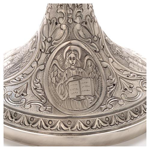 Calice ottone cesellato Crocifissione e 4 Evangelisti 4