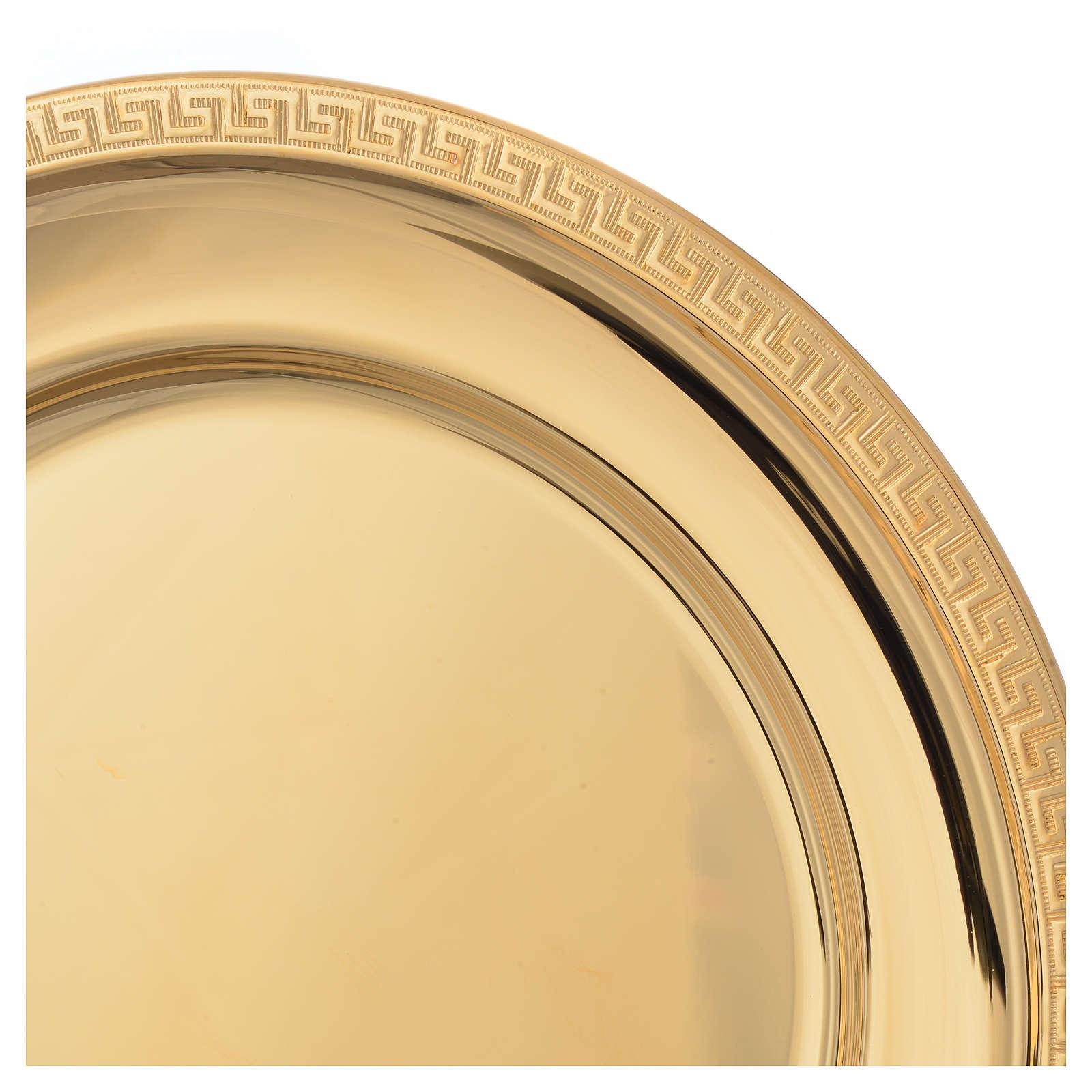 Patena ottone dorato greca sul bordo cm 19 4