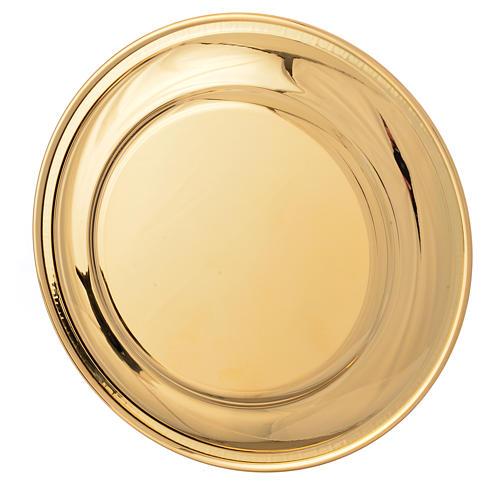 Patena ottone dorato greca sul bordo cm 19 2