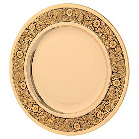 Patena ottone dorato decoro floreale 23.5 cm s1