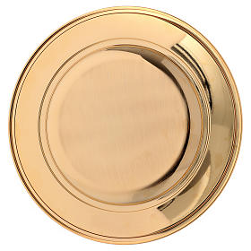 Patena ottone dorato decoro floreale 23.5 cm s4