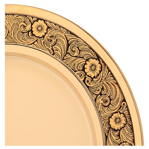 Patena ottone dorato decoro floreale 23.5 cm 2
