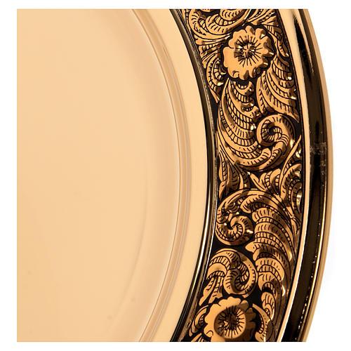 Patena ottone dorato decoro floreale 23.5 cm 3