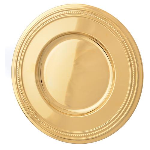 Patena de latón dorado, diámetro 19cm 1