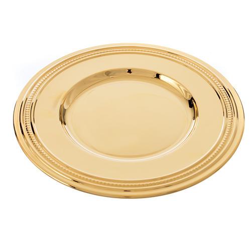 Patena de latón dorado, diámetro 19cm 3