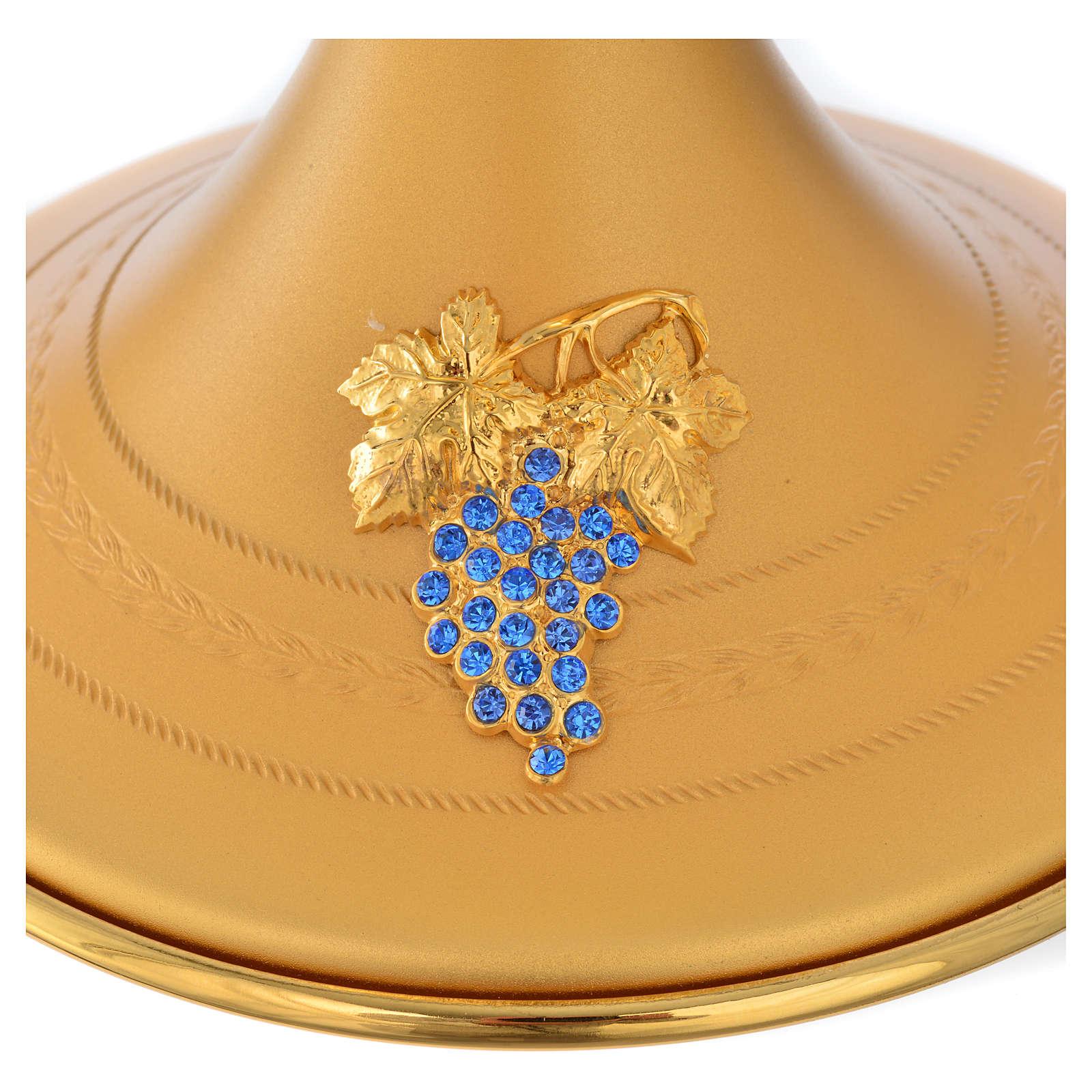 Calice e pisside  ottone con applicazione cristalli blu 4