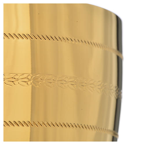 Calice e pisside  ottone con applicazione cristalli blu 13