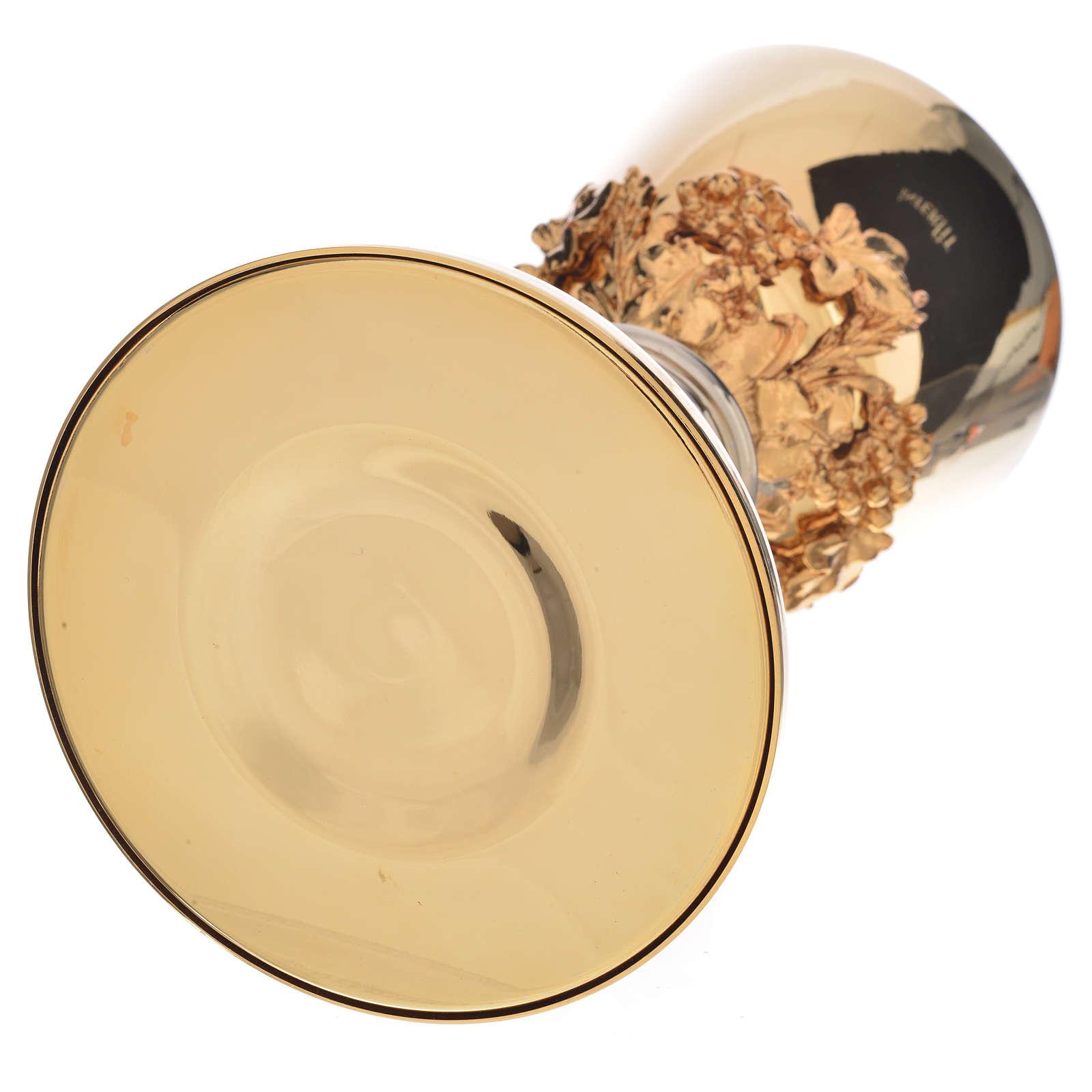 Calice fodera uva base spighe ottone dorato 4