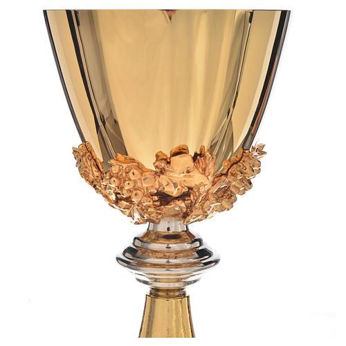 Kielich wnętrze czary złocony mosiądz winogron podstawa kłosy 3