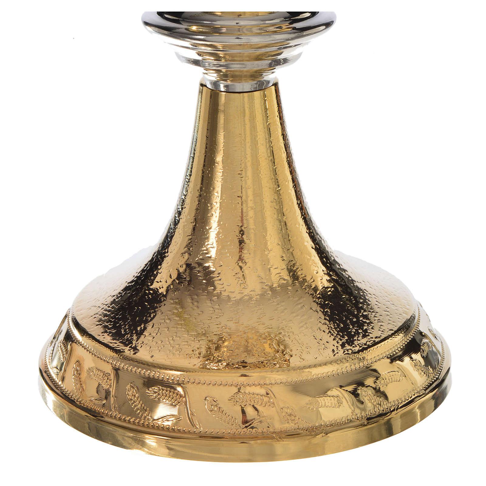Calice Pisside dorati lavorazione spighe grano ottone 4