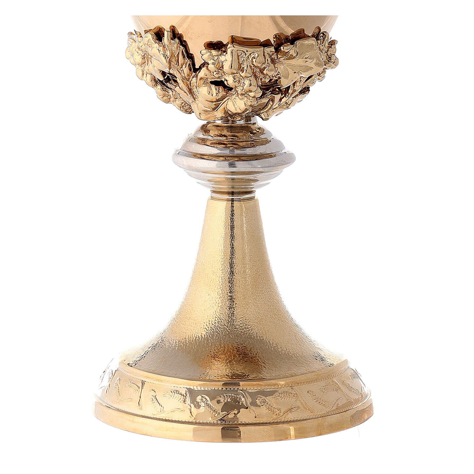 Calice coppa argento 925 fodera uva base spighe 4