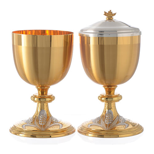 Chalice and Ciborium bicolor brass with grapes, chisel-finish 1