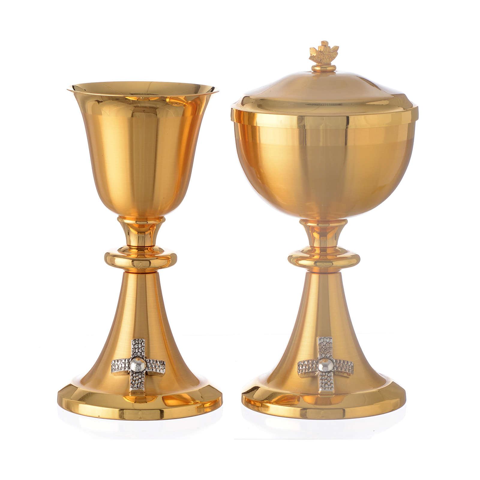 Calice et ciboire croix pied laiton doré 4