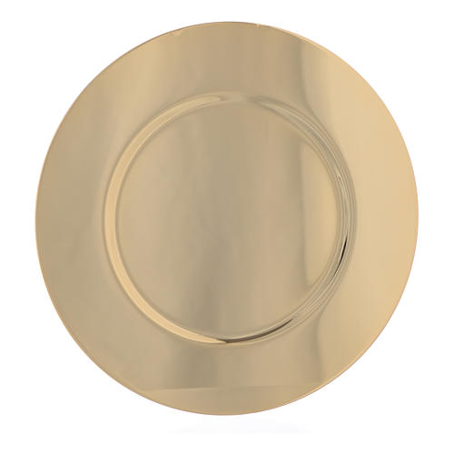 Paten in gold-plated shaped brass, 15,5cm 1
