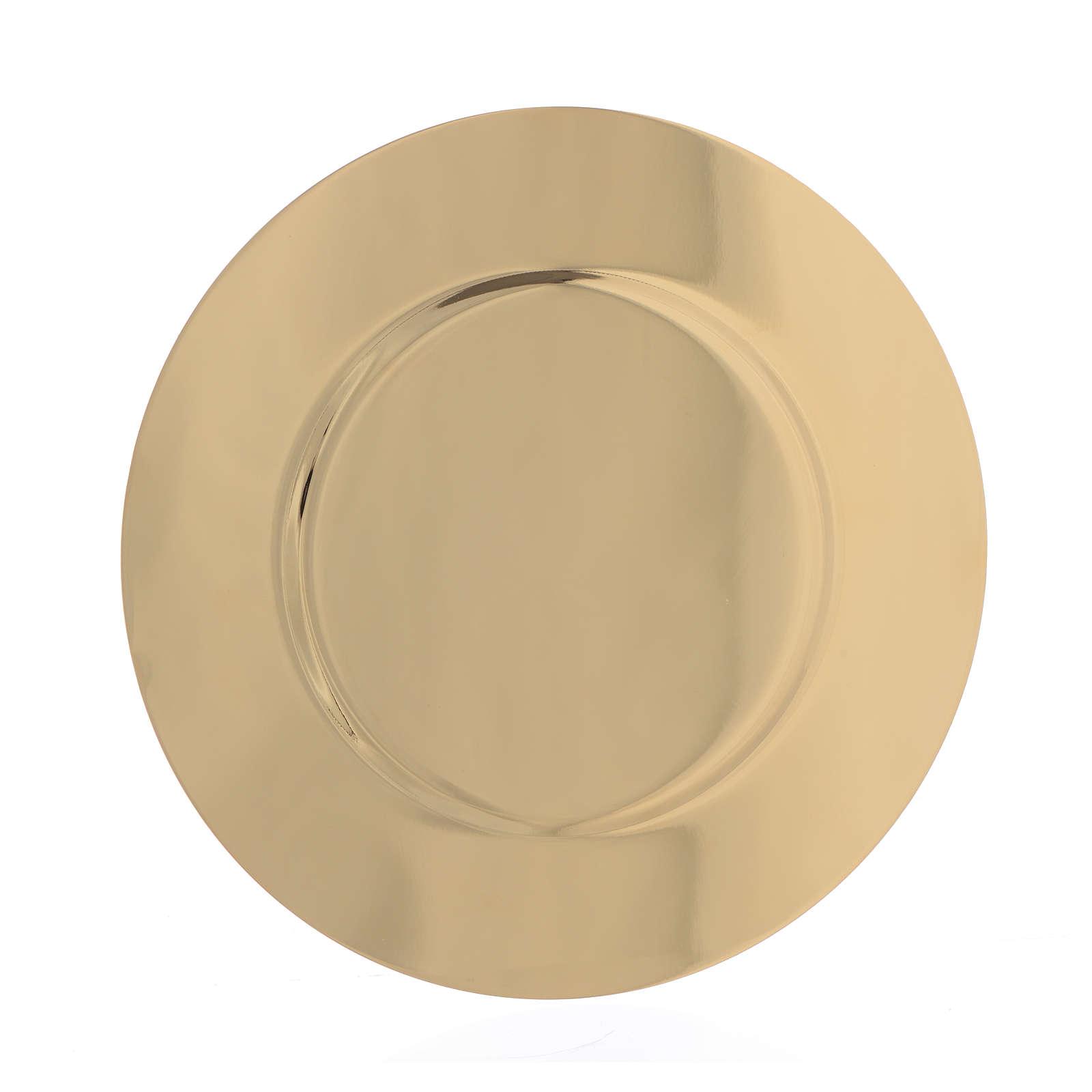 Patena ottone dorato sagomata diam 15,5 cm 4