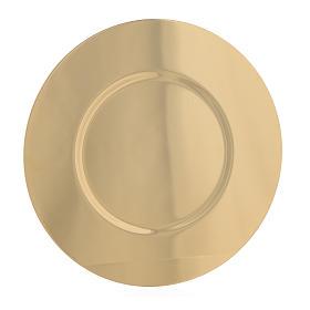 Cálices, Copones y Patenas metal: Patena latón dorado perfilado diám 16,5 cm.