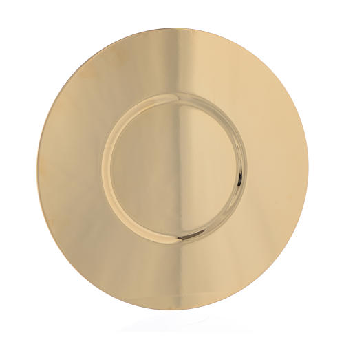 Paten in gold-plated shaped brass, 16cm 1