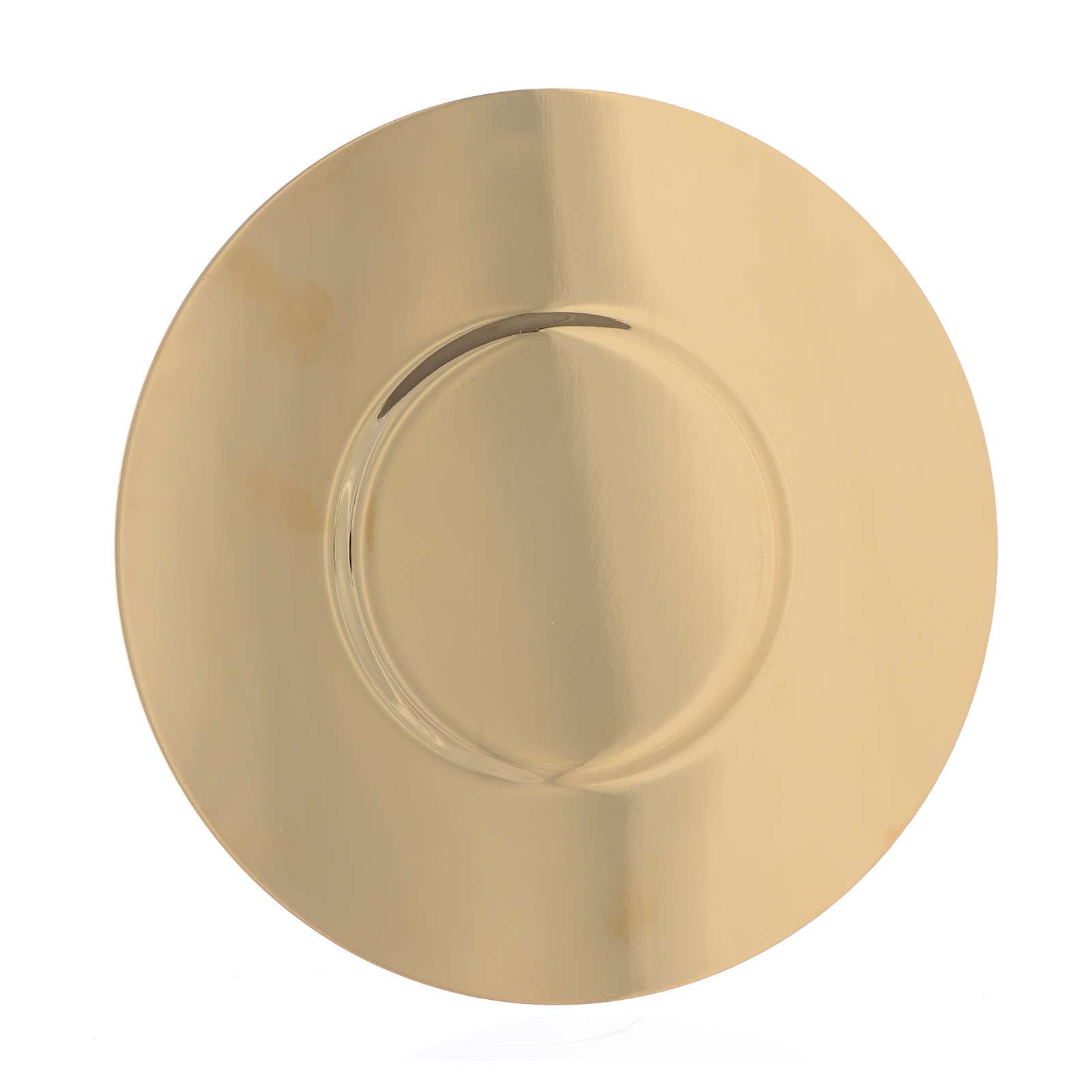 Patène laiton doré fond profilé diam 16 cm 4