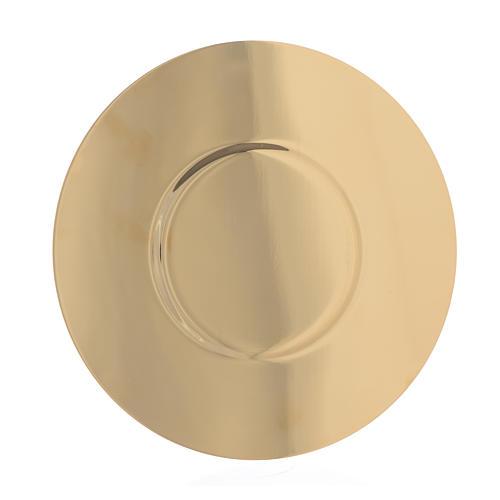 Patène laiton doré fond profilé diam 16 cm 2