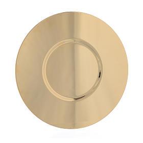 Cálices, Píxides, Patenas em Metal: Bandeja em latão dourado com borda realçada 16 cm
