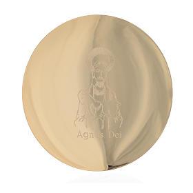 Cálices, Copones y Patenas metal: Patena latón dorado cm 14 grabado Agnus Dei