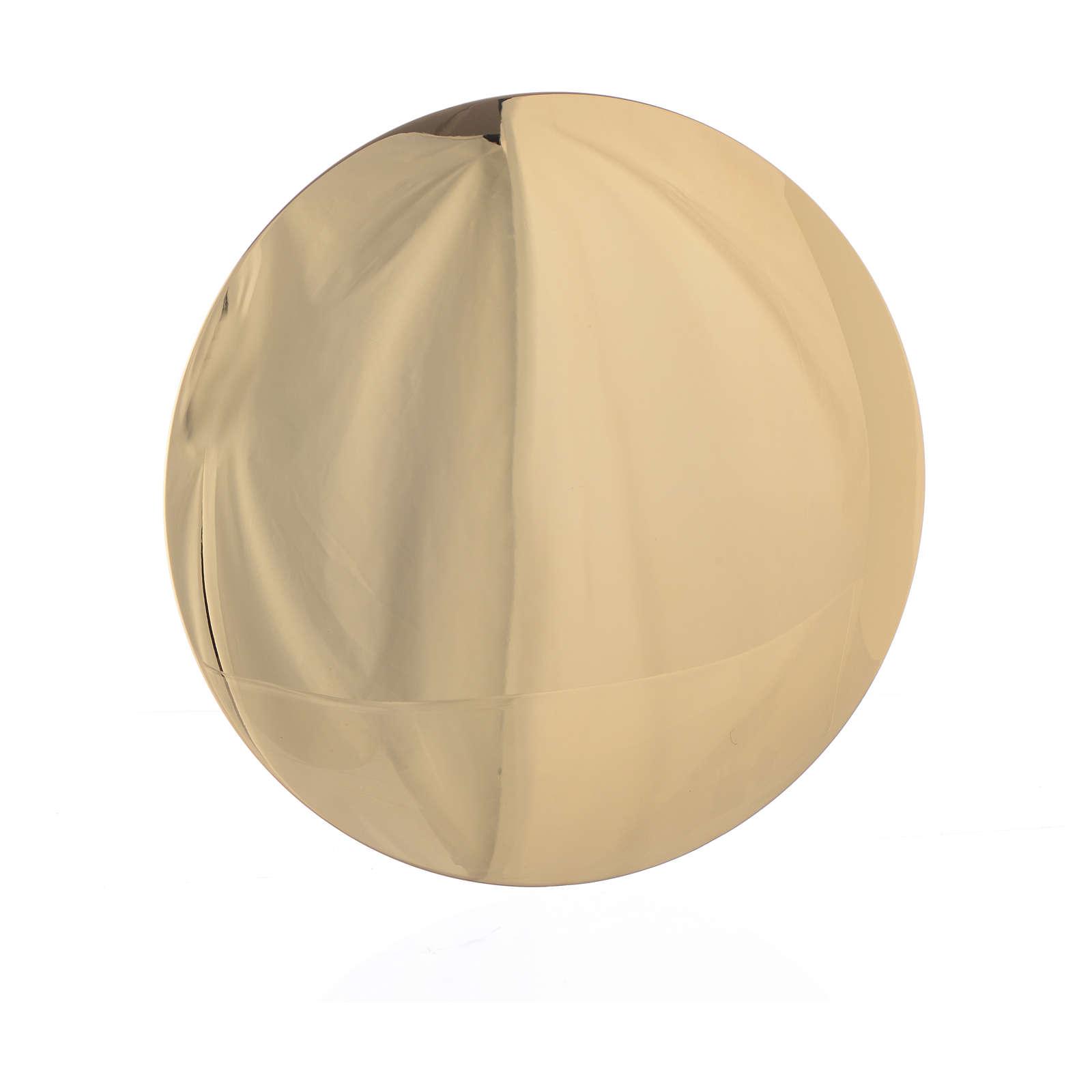 Bandeja latão dourado 14 cm gravura Agnus Dei 4