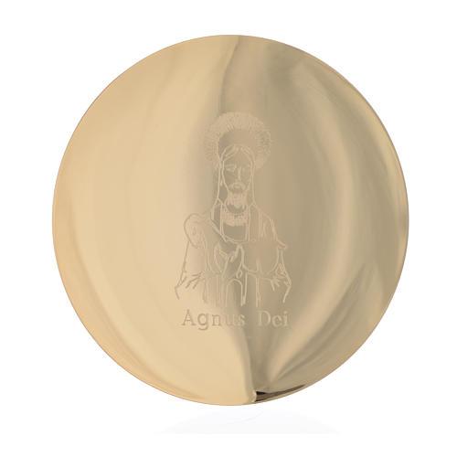 Bandeja latão dourado 14 cm gravura Agnus Dei 1