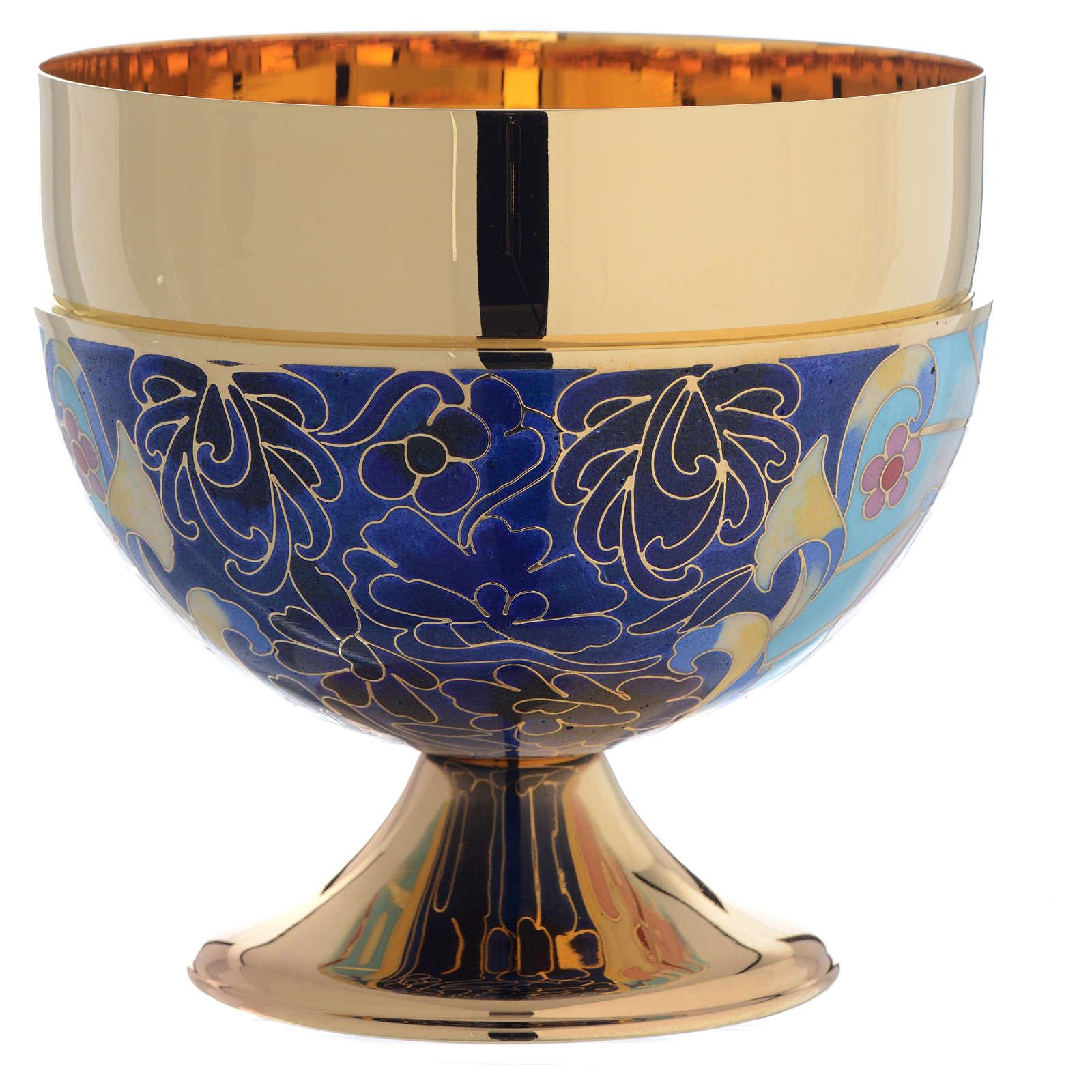 Bowl paten Agnus Dei and IHS symbol, brass and enamel 4