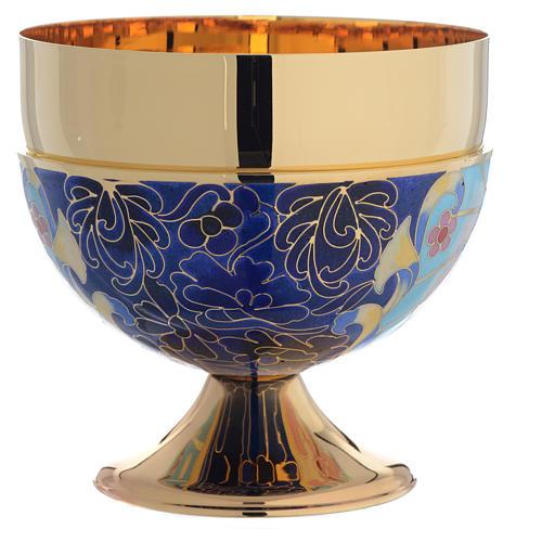 Bowl paten Agnus Dei and IHS symbol, brass and enamel 3