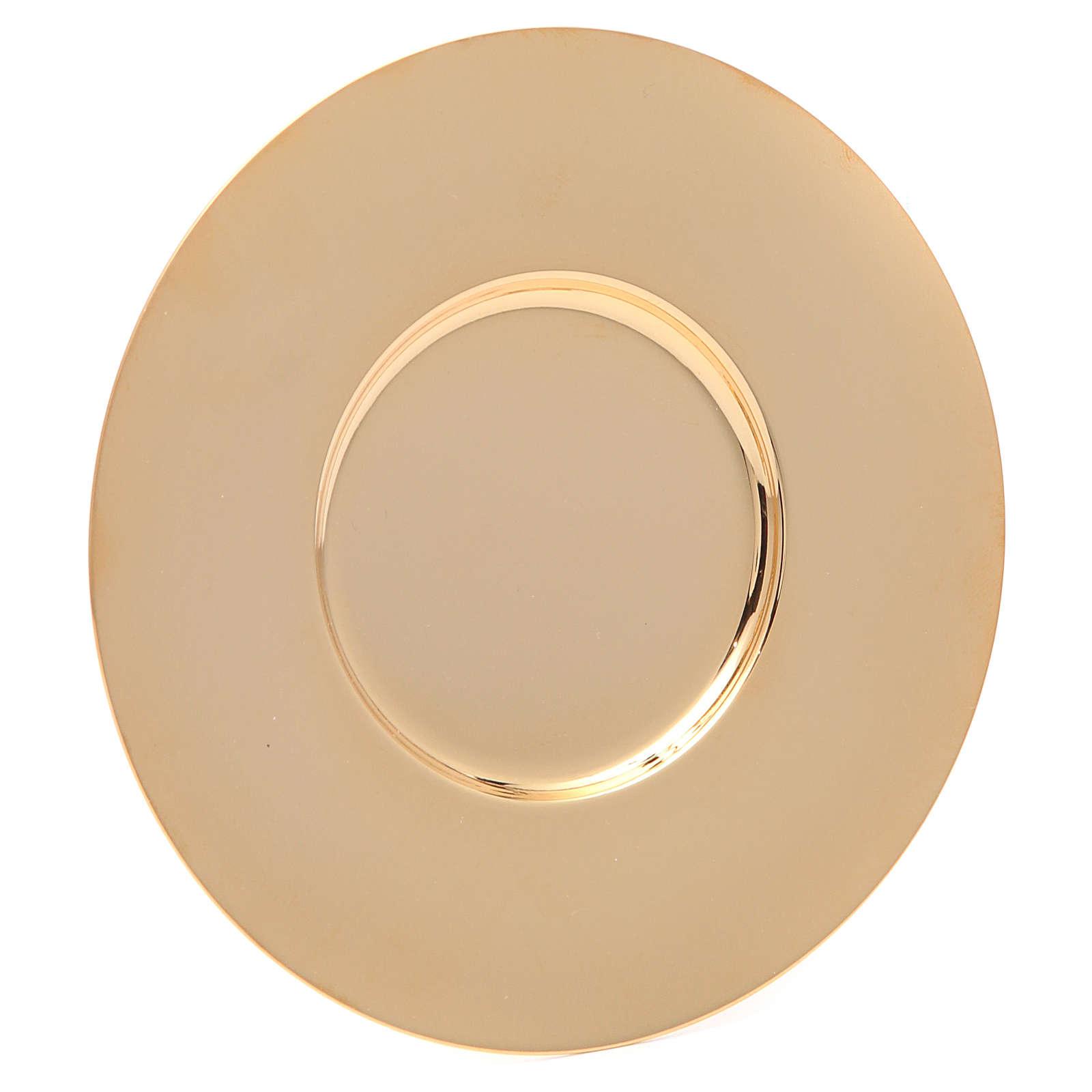 Patena en latón dorado lúcida y perfilada de diámetro 16 cm 4