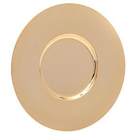 Patena en latón dorado lúcida y perfilada de diámetro 16 cm s1