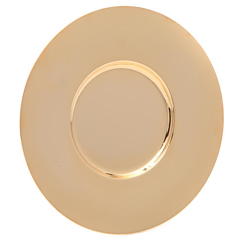 Patena en latón dorado lúcida y perfilada de diámetro 16 cm 1