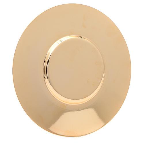 Patena en latón dorado lúcida y perfilada de diámetro 16 cm 2