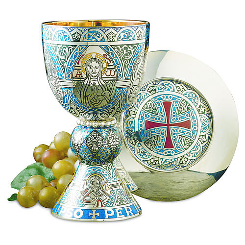 Molina Chalice and paten, in enamelled brass, Tassilo style 1