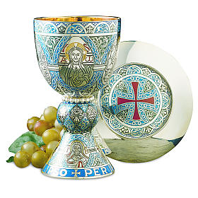 Molina Chalice and paten, in enamelled brass, Tassilo style s1