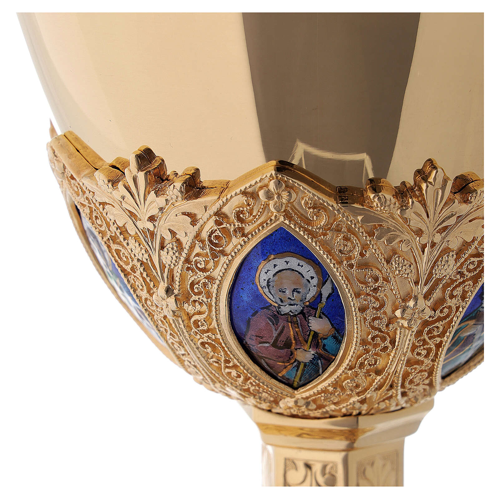 Kelch und Patene Messing Silber neugotischen Stil Molina 4