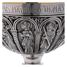 Brass paten and chalice with cup in sterling silver, Romanesque collection by Molina s4