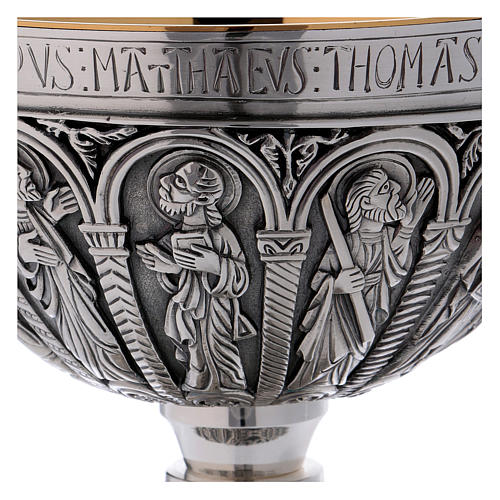 Brass paten and chalice with cup in sterling silver, Romanesque collection by Molina 4