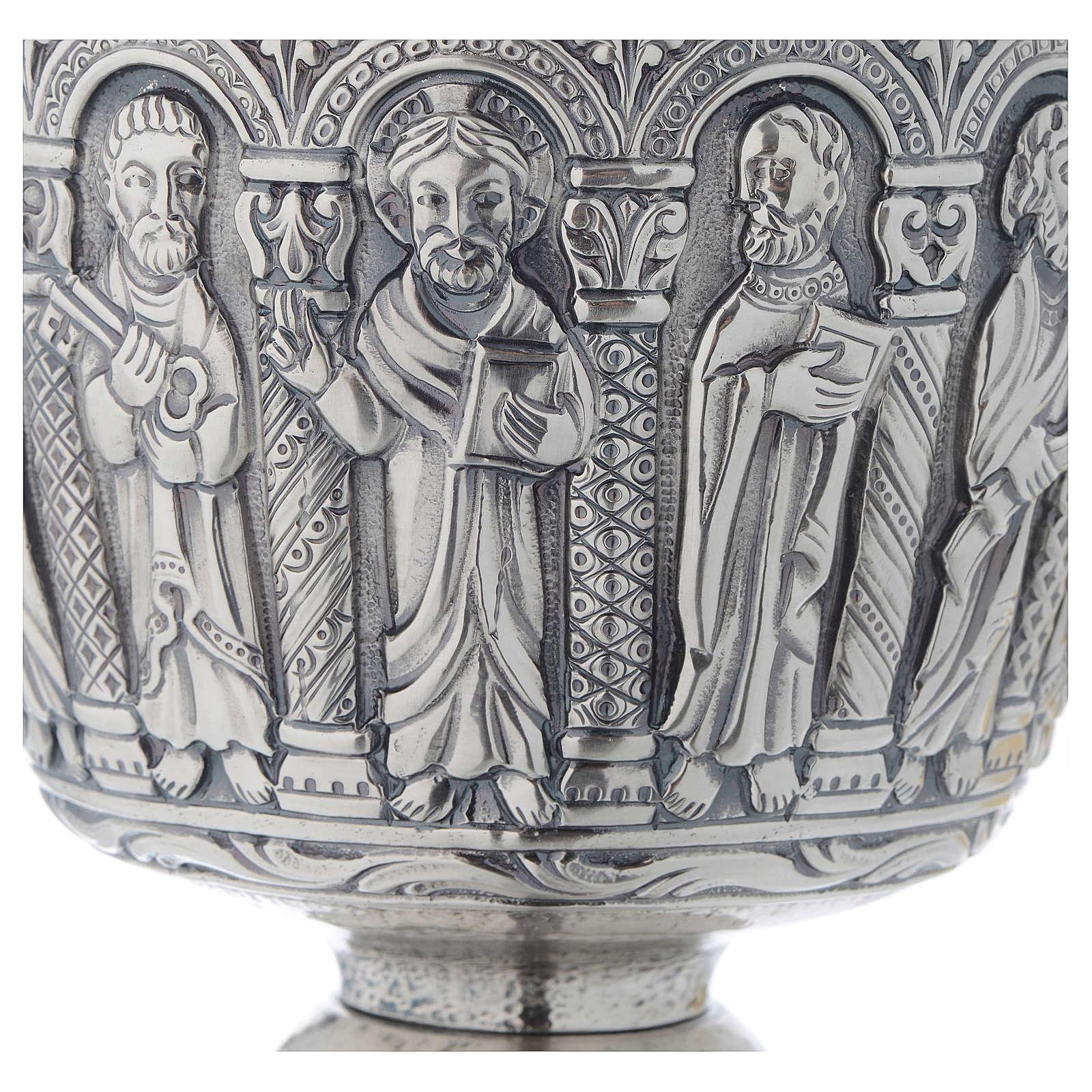 Calice patena Molina stile romanico ottone 4