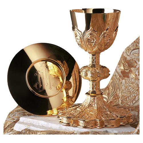 Calice e patena Molina stile gotico ottagonale coppa argento 925 dorato 1
