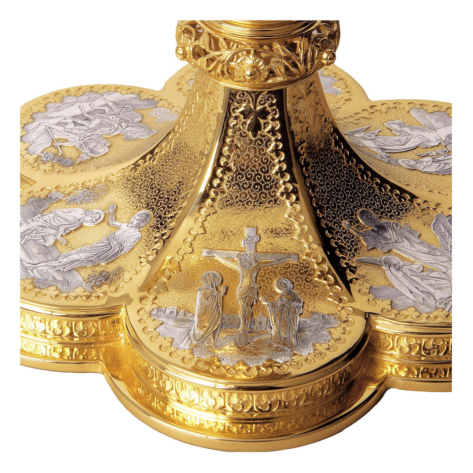 Calice Pisside Patena Molina scene vita Cristo stile gotico coppa argento 925 dorato 4