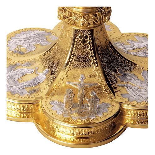 Calice Pisside Patena Molina scene vita Cristo stile gotico coppa argento 925 dorato 3