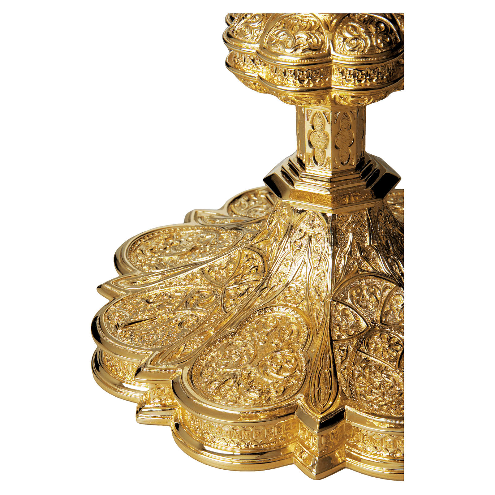 Calice e patena Molina stile gotico ottagonale argento massiccio 925 dorato 4