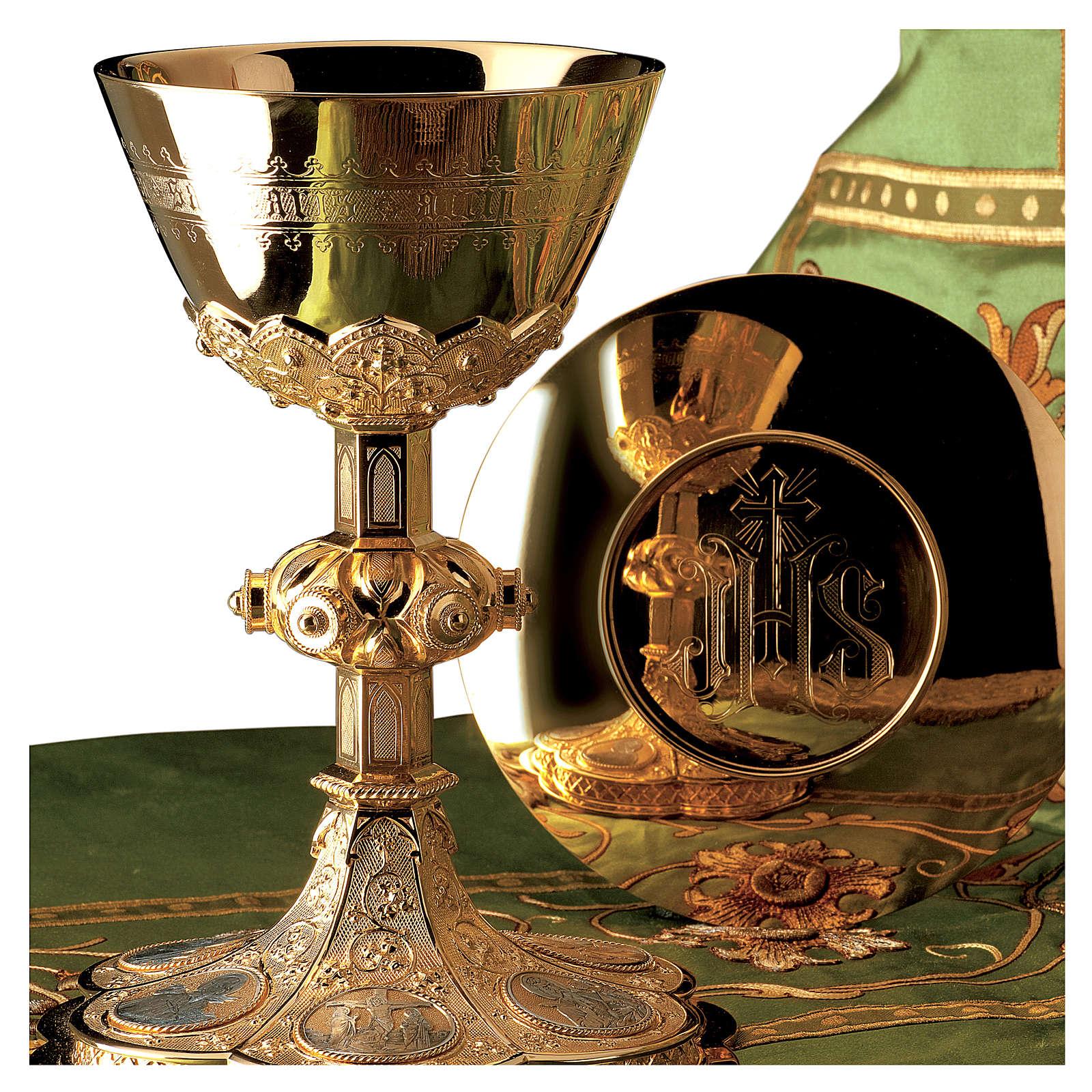 Calice e Patena Molina Evangelisti stile gotico coppa argento 925 dorato 4