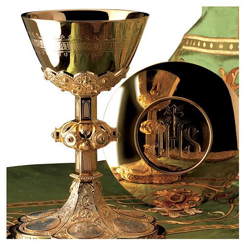 Calice e Patena Molina Evangelisti stile gotico coppa argento 925 dorato 1