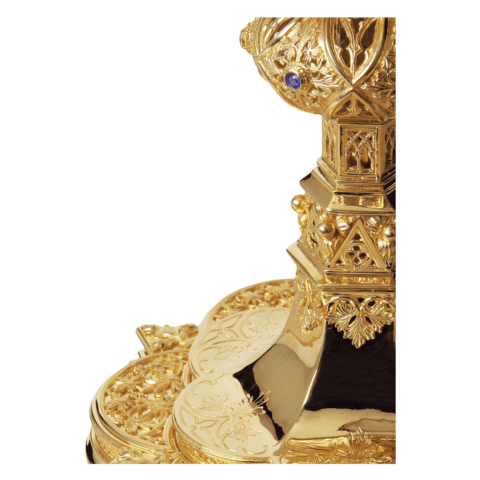 Calice e Patena Molina rubini e granati stile gotico coppa argento 925 dorato 4