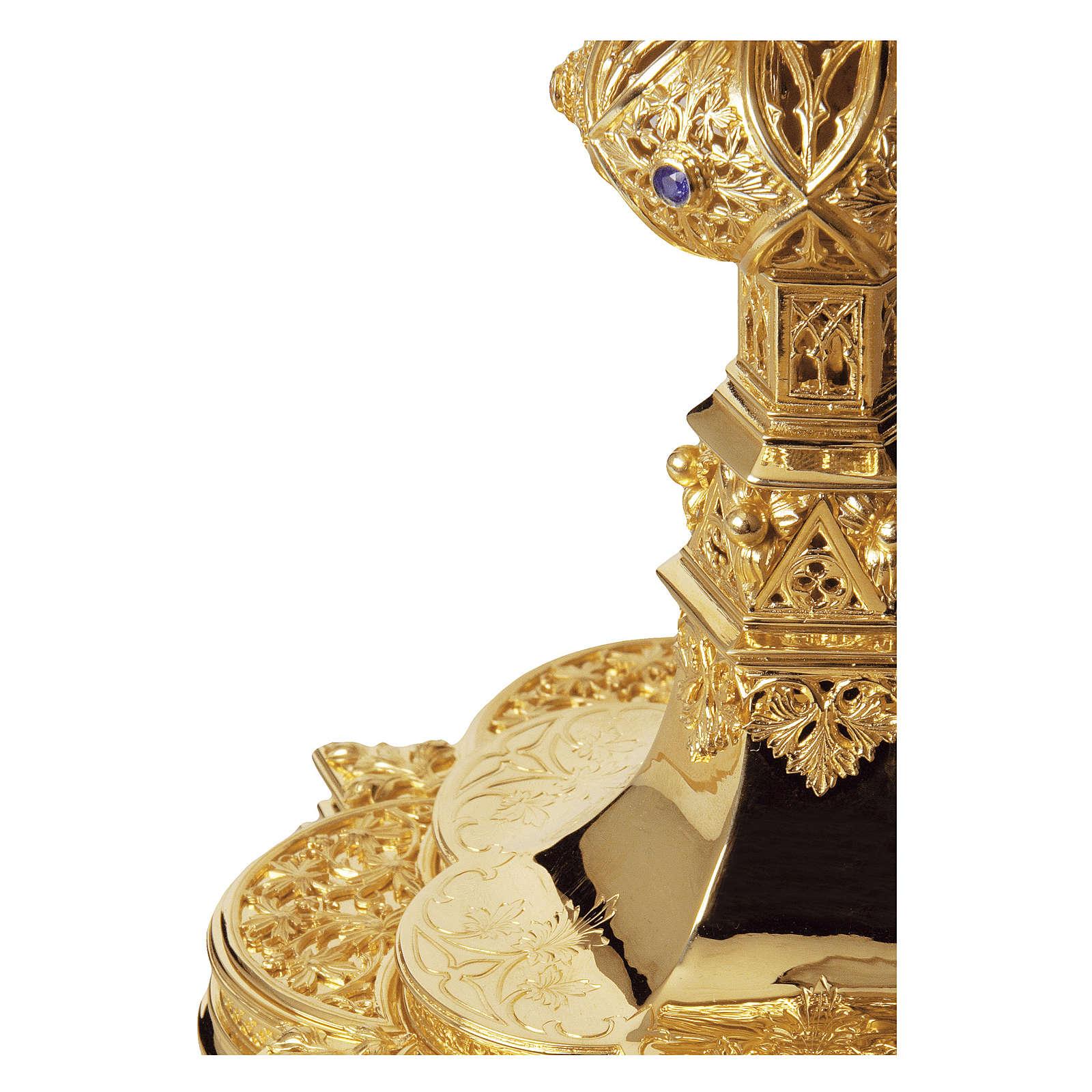 Calice e Patena Molina rubini e granati stile gotico argento massiccio 925 dorato 4