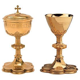 Calice Pisside Patena Molina incisione coppa salmo 115 in stile gotico ottone dorato s1