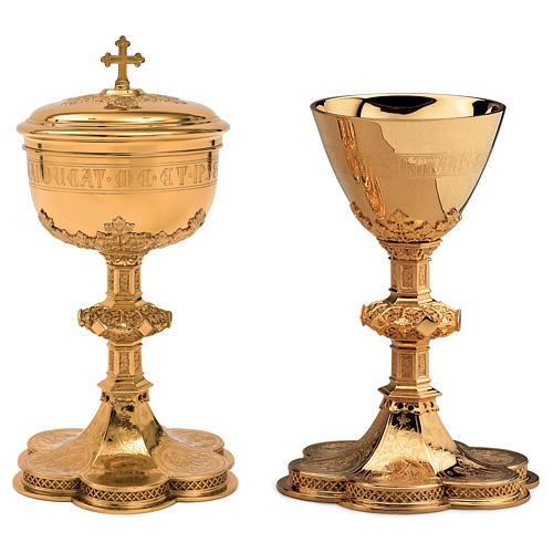 Calice Pisside Patena Molina incisione coppa salmo 115 in stile gotico ottone dorato 1